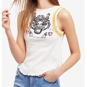 Free People.Tiger Graphic Cotton & Linen Tank Top.